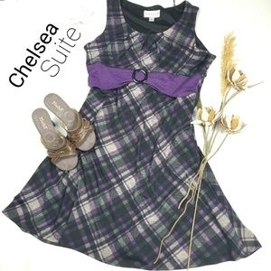 Chelsea Suite - Purple Gray Plaid Sweater Dress 18